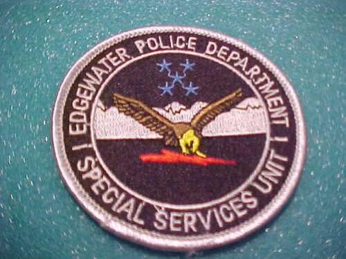 EDGEWATER COLORADO S.S.U. POLICE PATCH SHOULDER SIZE UNUSED 3 X 3