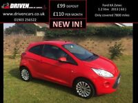 FORD KA 1.2 ZETEC 3d 69 BHP only 7800 miles (red) 2013