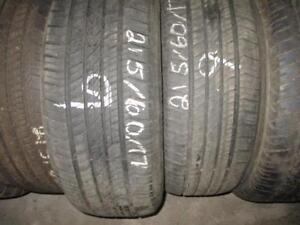 215/60 R17 COOPER CS5 USED TIRES (SET OF 2) - APPROX. 80% TREAD