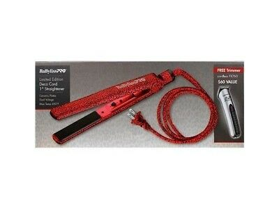 "Babyliss Pro Deco Cord 1"" Red Leopard Flat Iron & Forfex FX760 Cordless Trimmer"