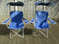 Folding chairs with canopies
