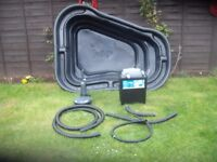 pond with uv filter box and pump