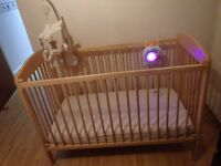 Wooden Cot Bed * Plus Bargain: Musical Cot mobile / Sound baby Monitor/ Others
