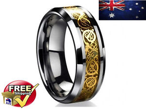 Mens Wedding Band Dragon Ring Game Of Thrones Inspired 18K Inlay Foil Tungsten