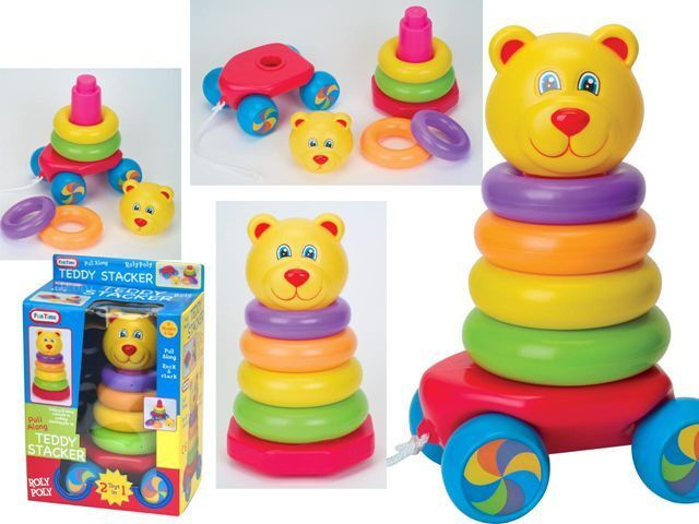 FUN TIME - 2 in 1 Teddy Stacker & Pull Along Baby Toddler Toy 9months +