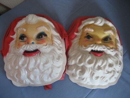 set of 2 Vintage Antique Santa Masks 1958