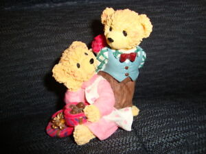 Three items-Cute teddies collectible figurines made by Avon