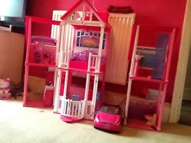 Barbie California dream house Glitterizer wardrobe car horse and Barbie dolls