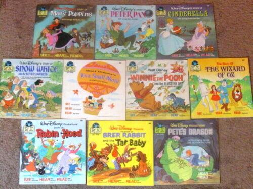 Vintage Lot 10 SEE HEAR READ Walt Disney Disneyland Book & Record 33 1/3 RPM.