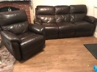 Brown leather reclining 3 seater sofa and armchair