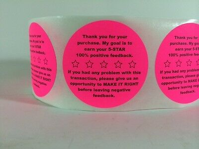 100 2 Feedback 5-star Stickers Pink Stickers Fluorescent Thank You Labels New