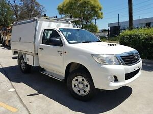 2012 Toyota Hilux KUN26R MY12 SR (4x4) White 5 Speed Manual Cab Chassis Moorebank Liverpool Area Preview