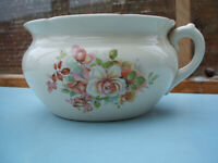 Vintage Chamber Pot - Cream/Off White with Floral Pattern