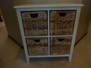 wood and wicker dresser