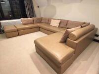 Stunning soft leather U shaped sofa in neutral light beige