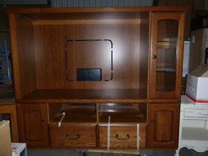Oak TV cabinet Strathcona County Edmonton Area image 2