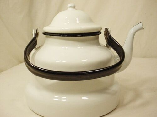 Vtg Emailul White Enamel ware Water Kettle Tea Pot Black Handle Free Ship