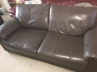 Two Brown Leather Sofas for sale.