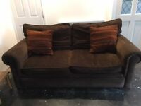 Brown Fabric 3 Piece, including 3 seater + 2 seater settee + single chair good quality John Lewis