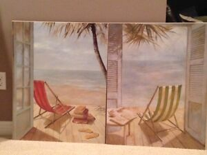 Matching Beach Pictures on Wood Backing