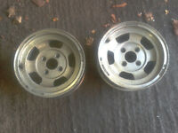 wolf race slot alloy wheels pair /capri/escort/cortina