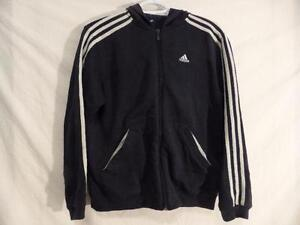 ADIDAS, size large, classic 3 stripe long sleeve exercise, fitness, workout zip up jacket, sweatshirt material, EUC