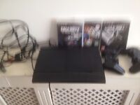 sony ps3 with 3 games call of duty ghost fifa and call of duty