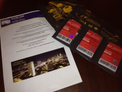 2 x Singapore F1 Grand Prix Ticket & After Party Package Bateman Melville Area Preview