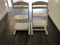 Two Adjustable Seat Height Childrens Chairs in White