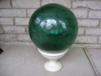Vintage Japanese Glass Fishing Float With Pedestal