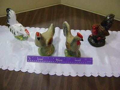 lot of 4 Vintage Ceramic Chickens   ***look***