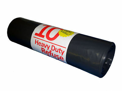 1 Roll (10 Bags) Heavy Duty Black Refuse Sacks Bin Bags 10's roll