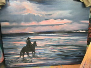 Lady on The Horse (Very Large Painting 40 heightx48width)