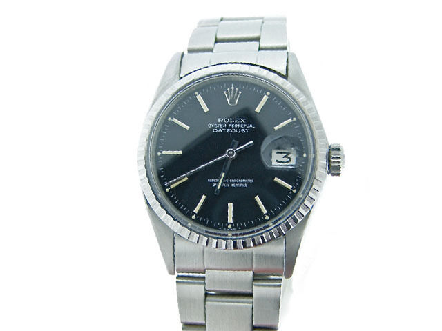 Rolex Datejust Mens Stainless Steel Watch Oyster Style Band Black Dial 1603