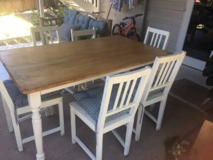 Wooden table and chairs country style brisbane