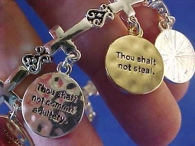 Religious Bracelet 10 Ten Commandment Charm Two Tone Silver Gold Cross Stretch