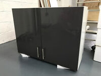 2x Kitchen Wall Unit Storage Cabinets High Gloss Grey Double Door