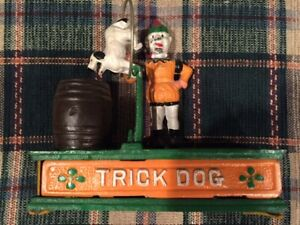 Vintage Cast Iron mechanical trick dog bank