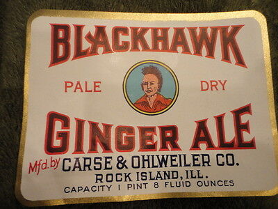 Blackhawk Advertising Label Pale Dry Ginger Ale White 1930's Original Vintage