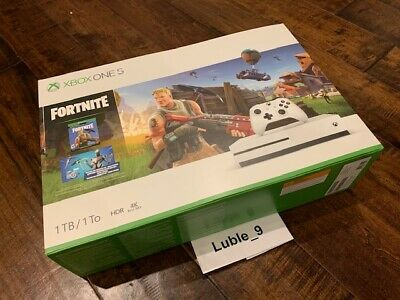Xbox One S 1TB Console - Fortnite Bundle - White _ Brand New Sealed