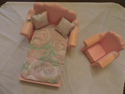Vintage Barbie Lounge that Folds out to Bed and matching Chair