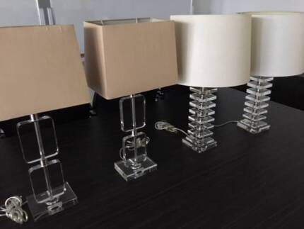 Table or bedside lamps solid crystal 2 matching pairs for sale