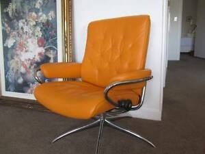 Stressless Metro Low Back Chair in Paloma Clementine Leather Leichhardt Leichhardt Area Preview