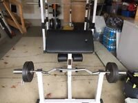 Full Commercial Olympic Preacher Curl Bench + Weights + Bar