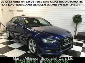 2012 62 Audi A4 3.0 V6 TDi S-Line Quattro 4X4 S-Tronic Automatic 245BHP