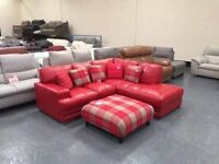 Ex-display California red leather corner sofa and multi checked fabric footstool