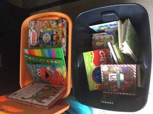 2 bins full of children's books