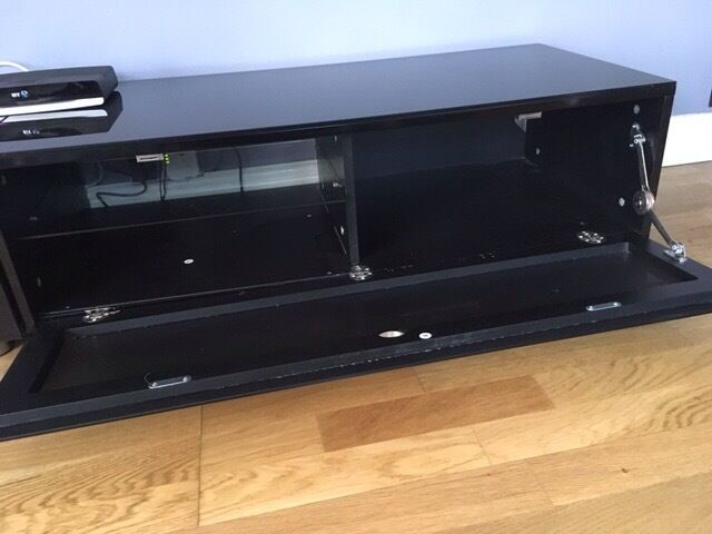 Black Glass Tv Stands With Drop Down Doors X 2 Storage For Tv Boxes