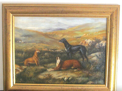 Antique 19th Century English School Oil Painting of Three Greyhounds Dogs Framed