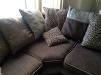Fabric Corner Sofa and Foot Stool